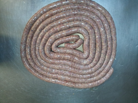 Finished product. Pork and pecorino sausage.