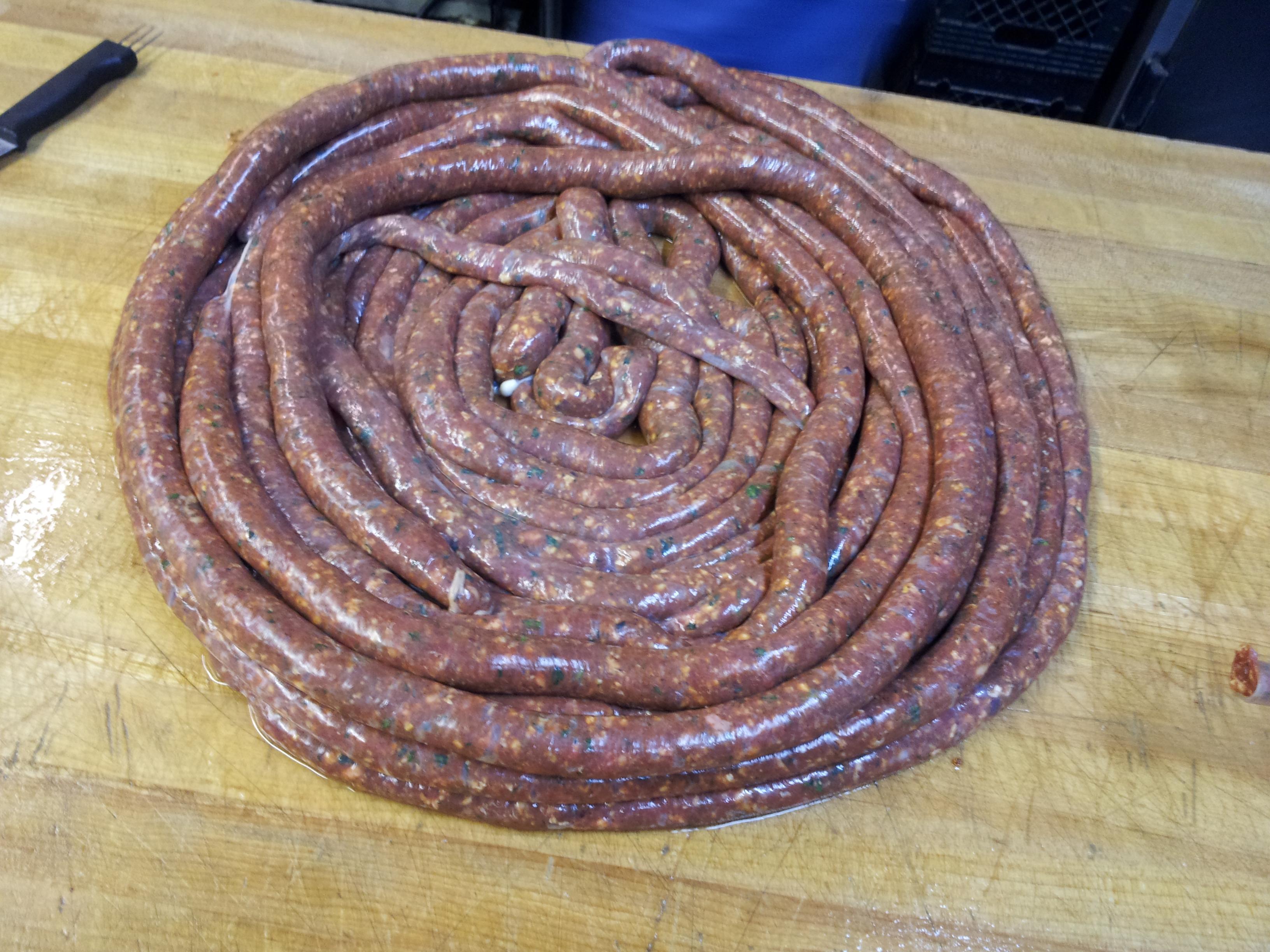 Finished lamb Marguez sausage.