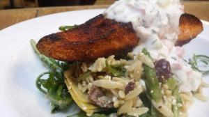 Mediterranean spiced pan seared salmon, orzo arugula salad, tatziki